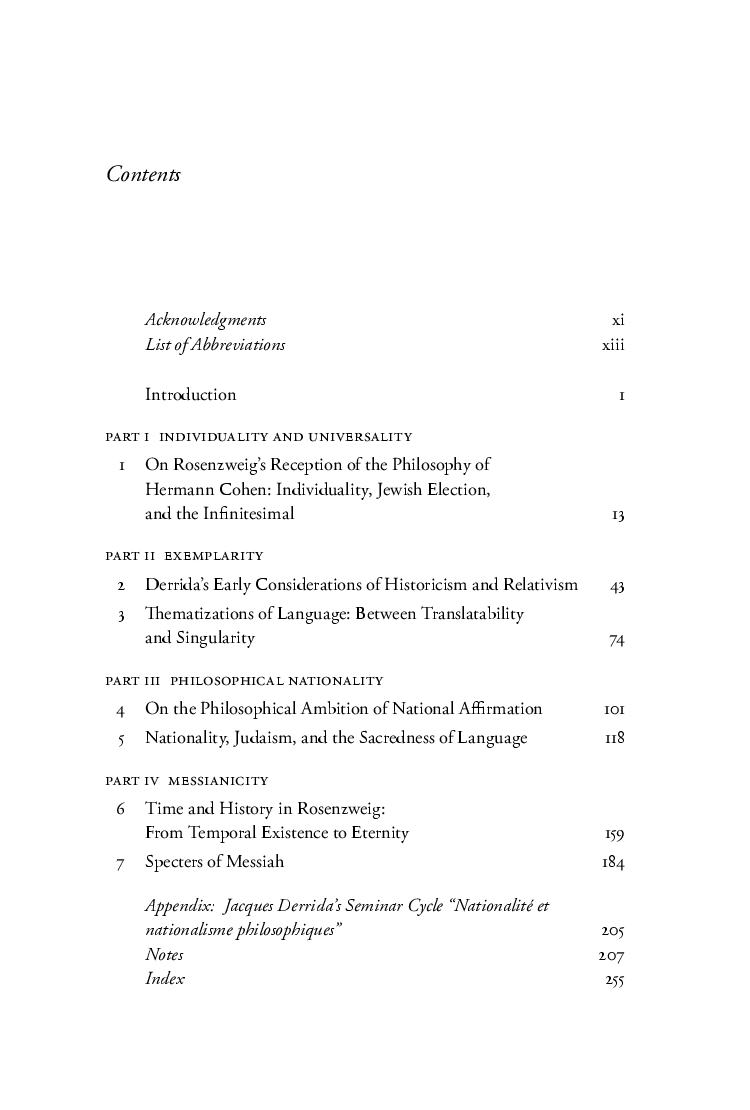 Exemplarity And Chosenness Rosenzweig And Derrida On The Nation Of