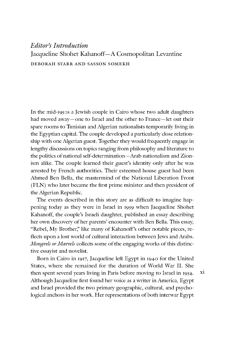 Mongrels Or Marvels The Levantine Writings Of Jacqueline Shohet