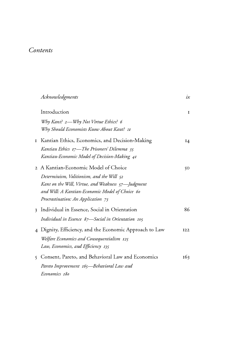 kantian ethics and economics autonomy dignity and character  table of contents