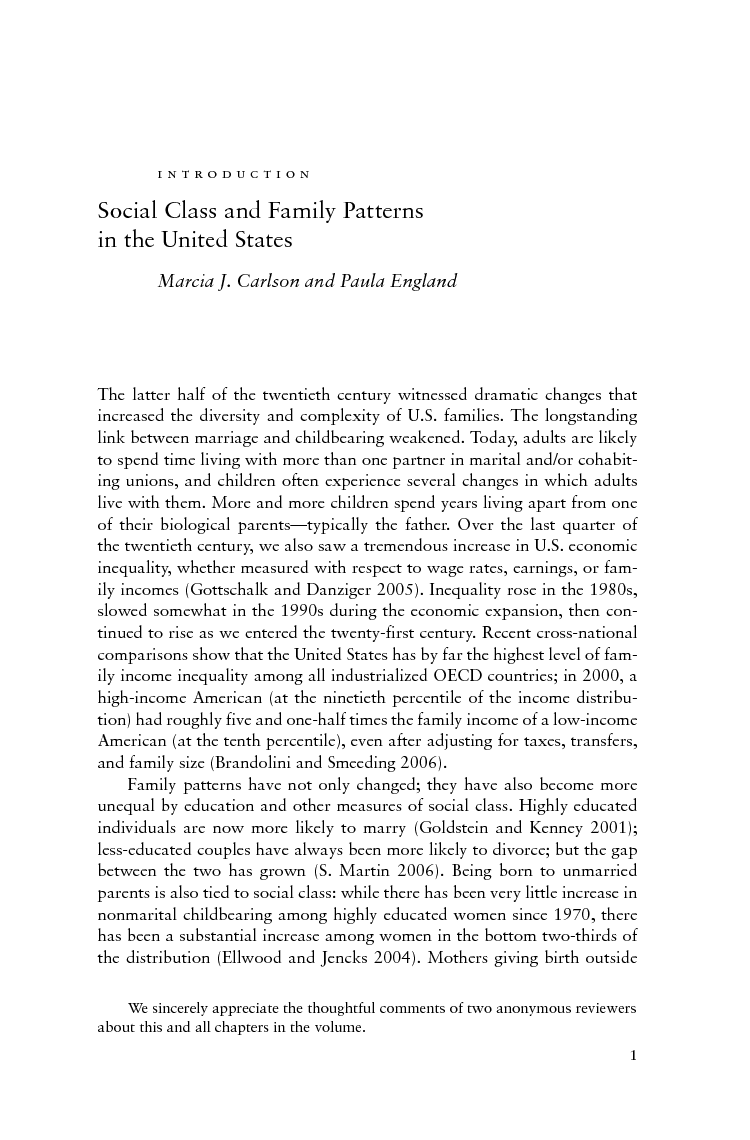 social class and changing families in an unequal america edited  social class and changing families in an unequal america edited by marcia j carlson and paula england