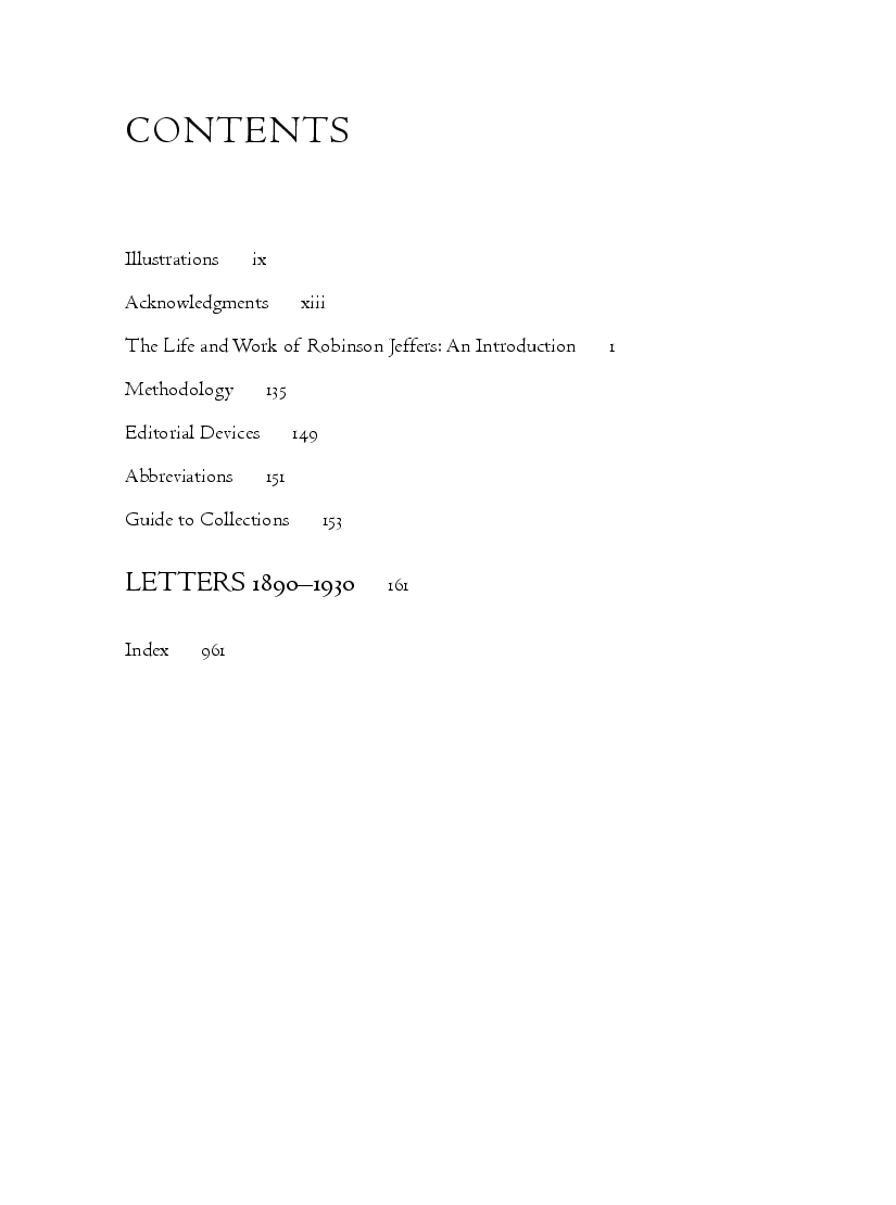 The Collected Letters of Robinson Jeffers, with Selected Letters of