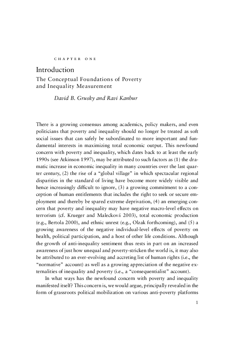 poverty and inequality edited by david b grusky and ravi kanbur excerpt from chapter 1