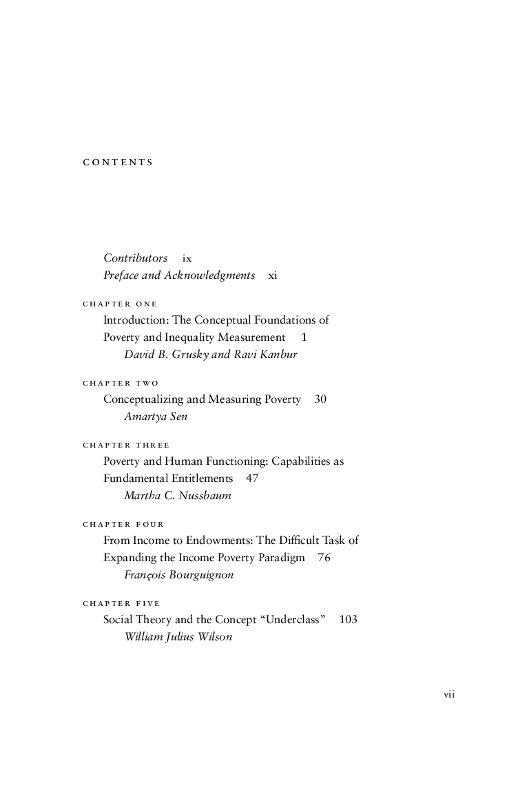 poverty and inequality edited by david b grusky and ravi kanbur table of contents