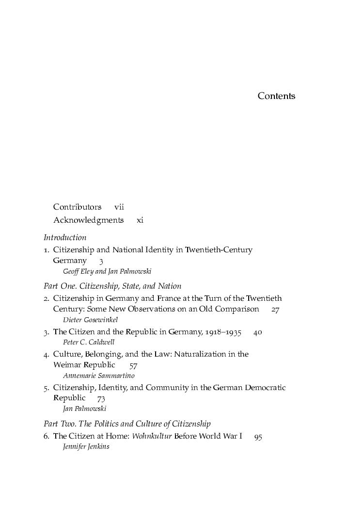 Citizenship And National Identity In Twentieth Century Germany